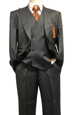 Steve Harvey Gray 3 Piece Suit Double Breasted Vest 218851 IS