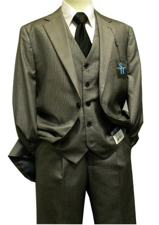 Steve Harvey 3 Piece Suit Gray Plaid Sharkskin 6793 - click to enlarge