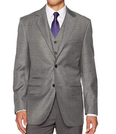 Steve Harvey 3 Piece Suit Gray Plaid Sharkskin 6793 IS