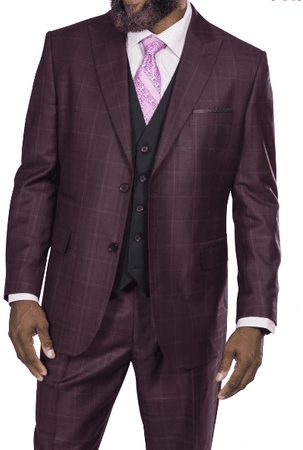 Steve Harvey Men's Burgundy Plaid 3 Piece Suit Black Vest 218857 OS - click to enlarge