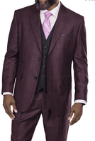 Steve Harvey Men's Burgundy Plaid 3 Piece Suit Black Vest 218857 OS