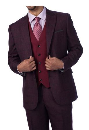 Steve Harvey Men's Burgundy Plaid 3 Piece Suit Burgundy Vest 219704 OS
