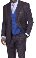 Steve Harvey Men's Brown Plaid 3 Piece Suit Blue Vest 218856 OS