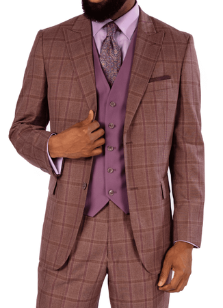 Steve Harvey Men's Mauve Plaid 3 Piece Suit Mauve Vest 119723 OS