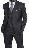Steve Harvey Men's Charcoal 3 Piece Suit Peak Lapel 218852