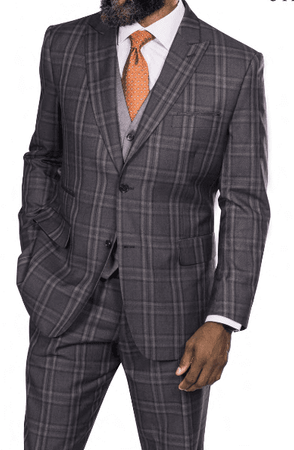 Steve Harvey Men's Brown Windowpane 3 Piece Suit 218868 OS