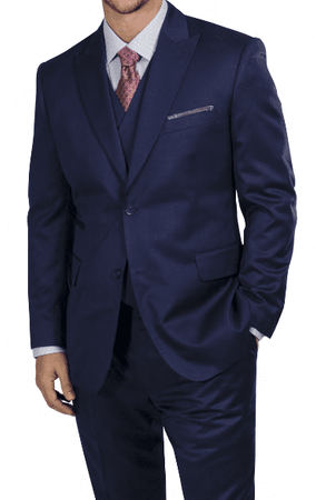 Steve Harvey Men's Indigo Blue 3 Piece Suit Peak Lapel 218853 - click to enlarge