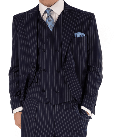 Steve Harvey Men's Navy Stripe 3 Piece Suit Peak Lapel 119726 OS