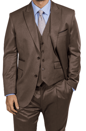 Steve Harvey Men's Light Brown 3 Piece Suit Peak Lapel 218854 OS