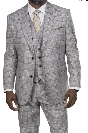Steve Harvey Men's Light Gray Taupe Windowpane 3 Piece Suit 218864 OS - click to enlarge