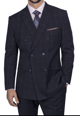 Steve Harvey Men's Navy Wine Square Pattern Double Breasted Suit 218860 Size 46R, 54L