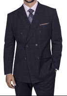 Steve Harvey Men's Navy Square Pattern Double Breasted Suit 218860 OS