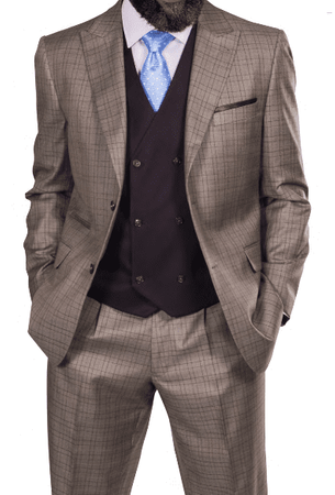 Steve Harvey Men's Taupe Windowpane 3 Piece Suit Brown Vest 218870 OS - click to enlarge