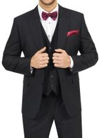 Steve Harvey Mens Black 3 Piece Suit Solid Color 118758 IS