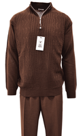 Stacy Adams Mens Mocha Brown Fancy Sweater and Pants Set 1326