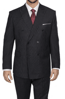 Steve Harvey Men's Black Stripe Double Breasted Suit 218865 OS