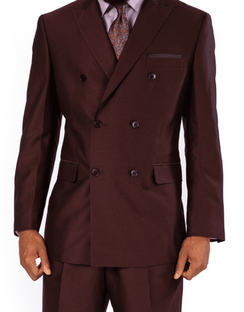 Steve Harvey Men's Burgundy Wine Double Breasted Suit 119722 Size 42R - click to enlarge
