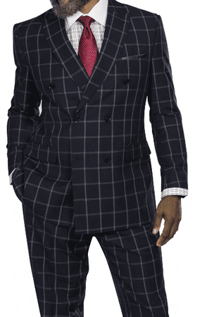 Steve Harvey Men's Black Windowpane Double Breasted Suit 218879 OS