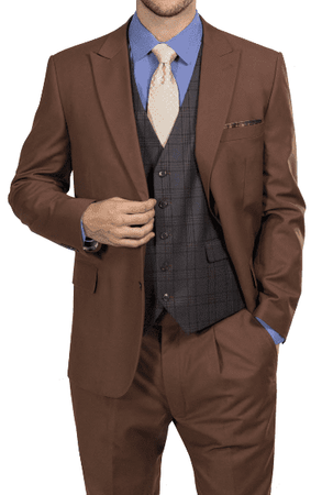 Steve Harvey Mens Brown 3 Piece Suit Plaid Vest 218884 OS