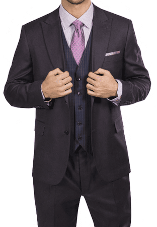Steve Harvey Mens Brown 3 Piece Suit Ginham Plaid Vest 218883 OS - click to enlarge