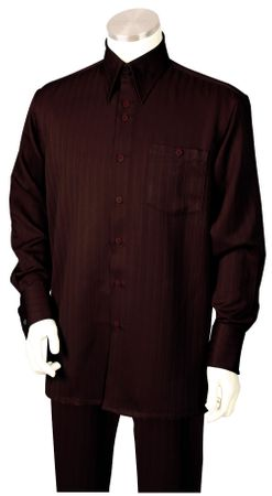 Canto Mens Brown Tone on Tone Stripe Walking Suit 884