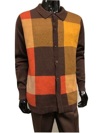 Men's Sweater and Pants Outfit Brown Block Front WS839