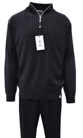 Stacy Adams Mens All Black Fancy Sweater and Pants Set 1326
