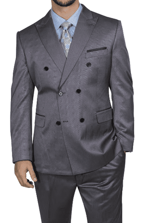 Steve Harvey Men's Gray Double Breasted Suit 218850 OS