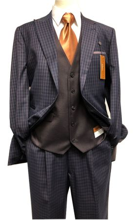 Steve Harvey Mens Navy Brown Gingham 3 Piece Suit Contrast Vest 218882 IS