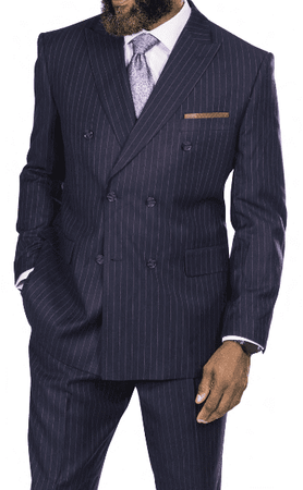Steve Harvey Navy Lavender Stripe Double Breasted Suit 218876 OS - click to enlarge