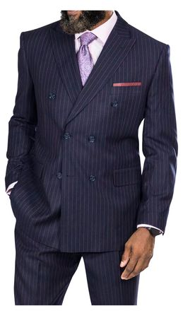 Steve Harvey Navy Burgundy Stripe Double Breasted Suit 218876 OS