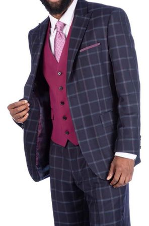 Steve Harvey Suit 3 Piece Charcoal Plaid Contrast Vest 219713