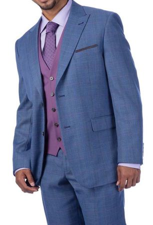Steve Harvey Suit 3 Piece Lighter Blue Plaid Lavender Vest 219711