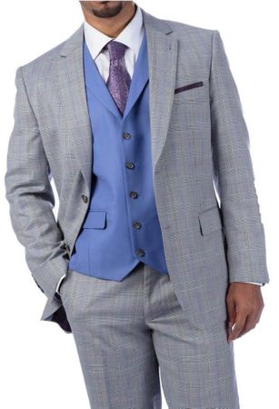 Steve Harvey Suit 3 Piece Light Gray Plaid Contrast Vest 219712