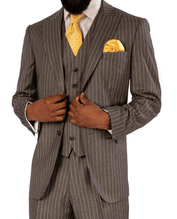 Steve Harvey Suit Gray Pinstripe 3 Piece 119725 OS