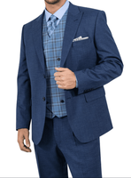 Steve Harvey Suit Mens Cobalt Blue 3 Piece Plaid Vest 118735 IS