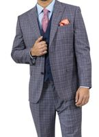 Steve Harvey Suit Mens Navy Plaid 3 Piece Blue Vest 118729 IS
