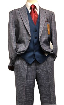Steve Harvey Suit Mens Gray Navy Plaid 3 Piece Blue Vest 118729 IS