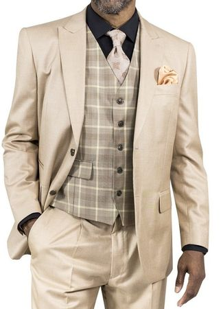 Steve Harvey Suit Mens Tan 3 Piece Plaid Vest 118712 IS