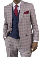 Steve Harvey Suit Mens Taupe Plaid 3 Piece Blue Vest 118727 IS