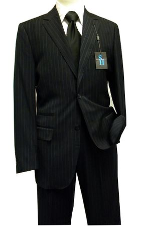 Steve Harvey Suits Mens 2 Piece Navy Blue Chalk Stripe 6791 - click to enlarge