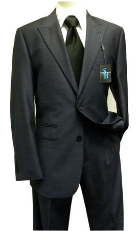 Steve Harvey Men's Blue Sharkskin 2 Piece Suit 7019 IS