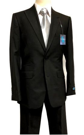 Steve Harvey Suits Mens Black Fine Texture Stripe 2 Piece 6788 IS