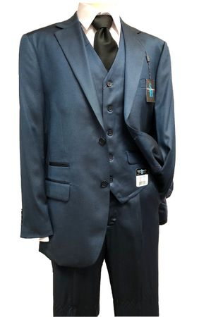 Steve Harvey Suits Mens Blue Sharkskin 3 Piece Samson 6790 IS