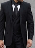 Steven Land Solid Black DB Vested Suit Walter SL77-025 IS