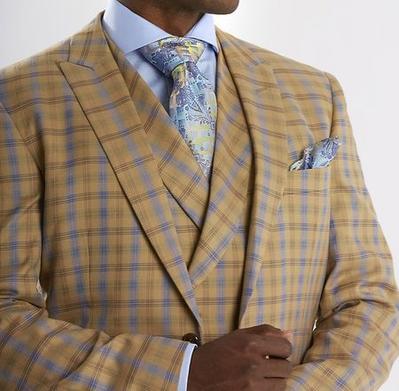 Steven Land Beige Plaid DB Vested 3 Piece Suit Riley SL77-211 IS - click to enlarge