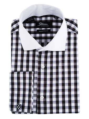 Steven Land Black White Small Plaid French Cuff Cotton Shirt DC12WF - click to enlarge