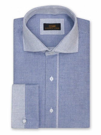 Steven Land Blue French Cuff Shirt Basket Weave DW824 - click to enlarge