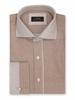 Steven Land Brown French Cuff Shirt Basket Weave DW824