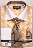 Avanti Uomo Mens Dress Shirt Tie Hanky Sets Gold Brush Pattern DN79M Size 18.5 Final Sale